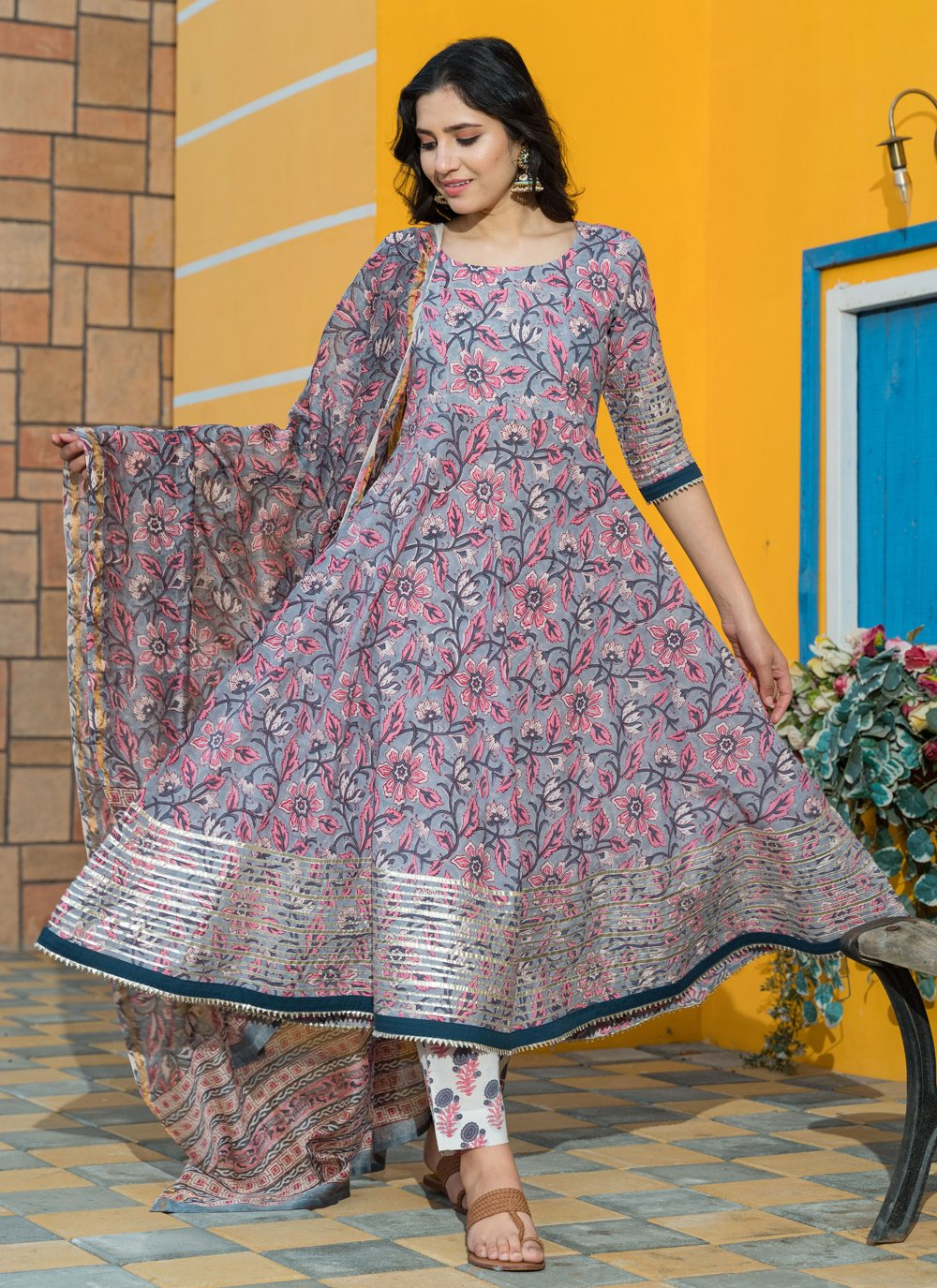 Grey Printed Desinger Anarkali Salwar Suit