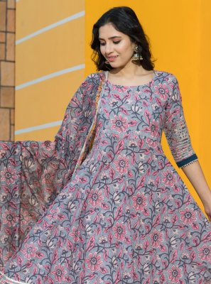 Grey Printed Desinger Anarkali Salwar Suit