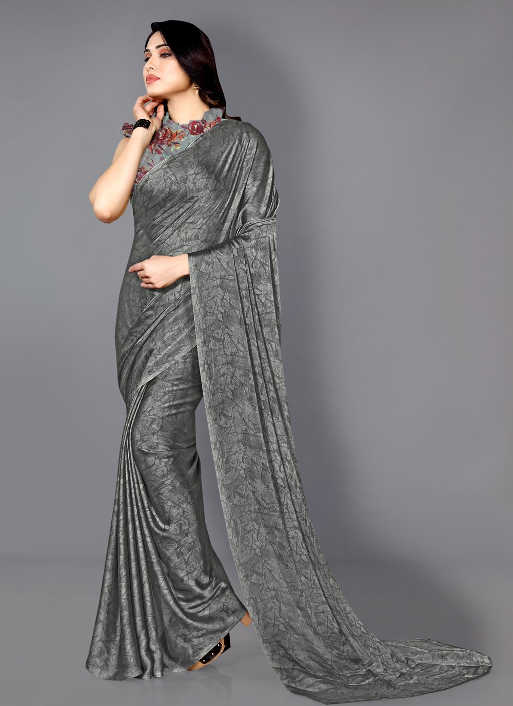 Grey Printed Faux Chiffon Traditional Saree
