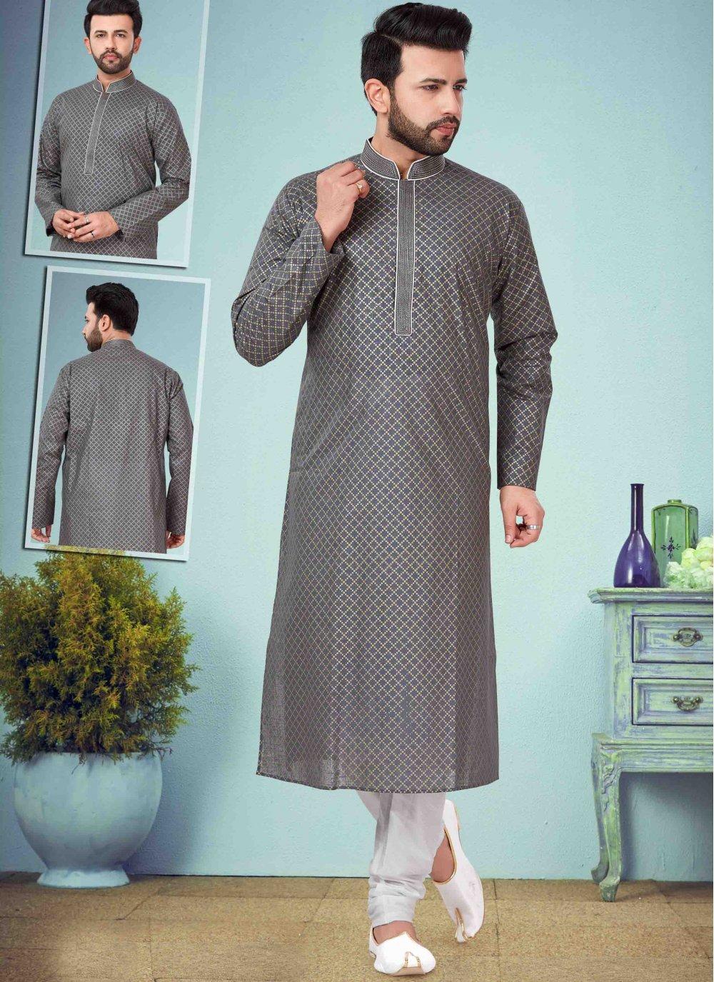 Grey Printed Kurta Pyjama
