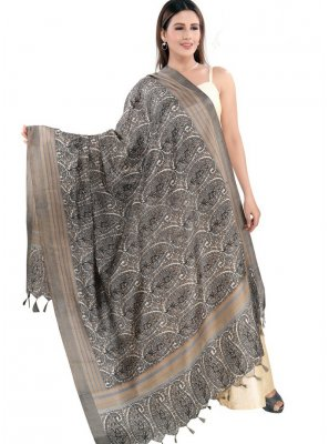 Grey Printed Reception Designer Dupatta