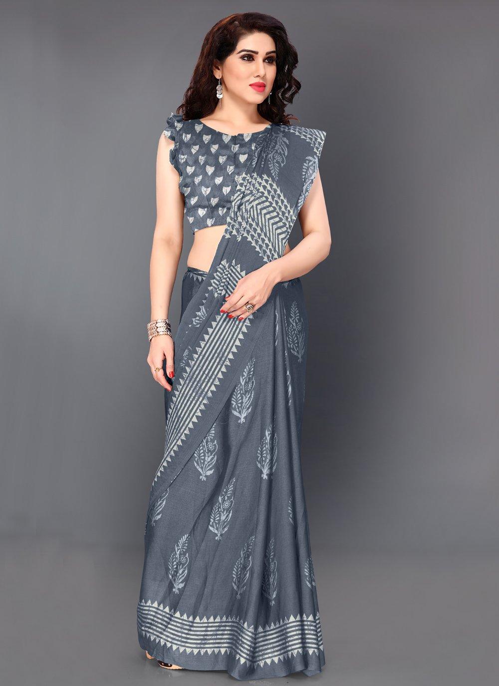 Grey Printed Trendy Saree