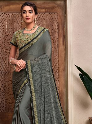 Grey Resham Georgette Traditional Designer Saree
