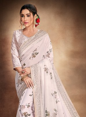 Grey Resham Printed Saree