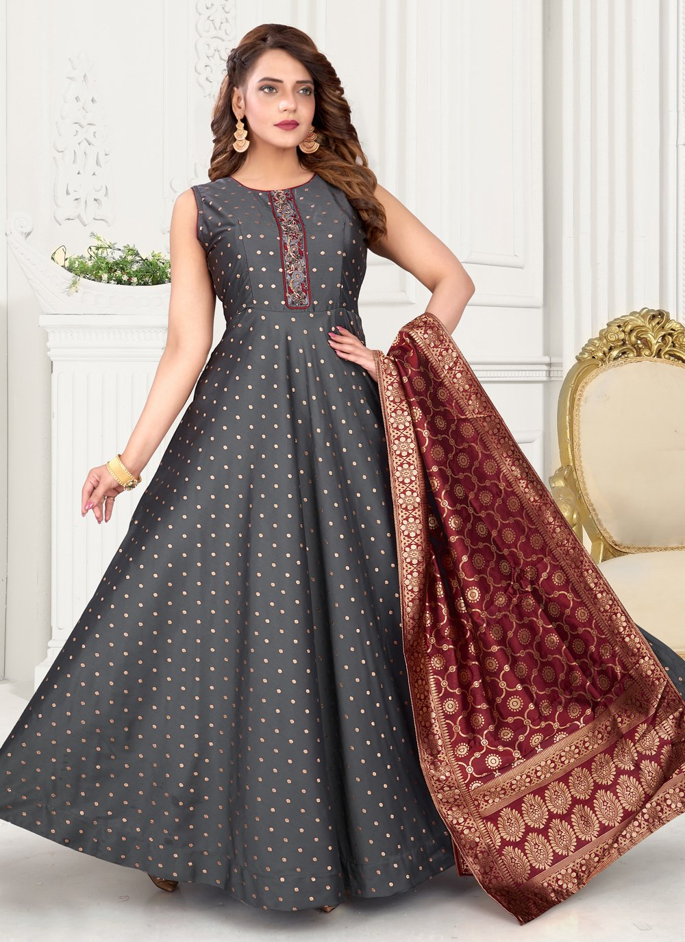 Grey Sangeet Readymade Suit