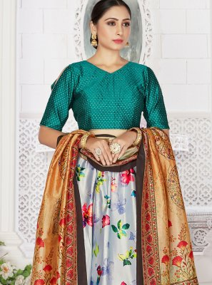 Grey Satin Readymade Lehenga Choli