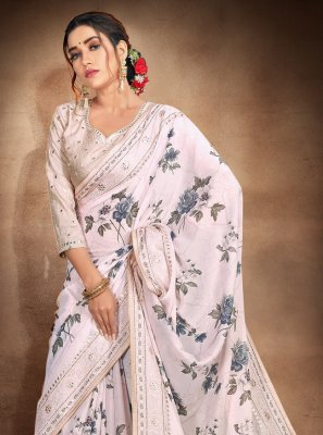 Grey Satin Resham Printed Saree