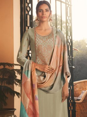 Grey Silk Designer Pakistani Suit