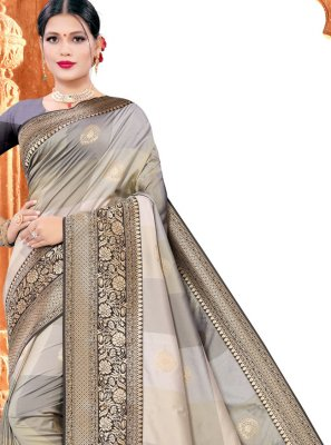 Grey Silk Designer Saree