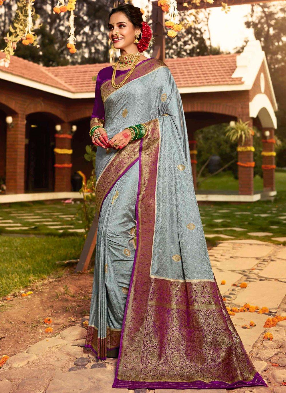 Grey Silk Designer Saree