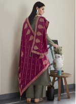 Grey Silk Embroidered Designer Pakistani Suit