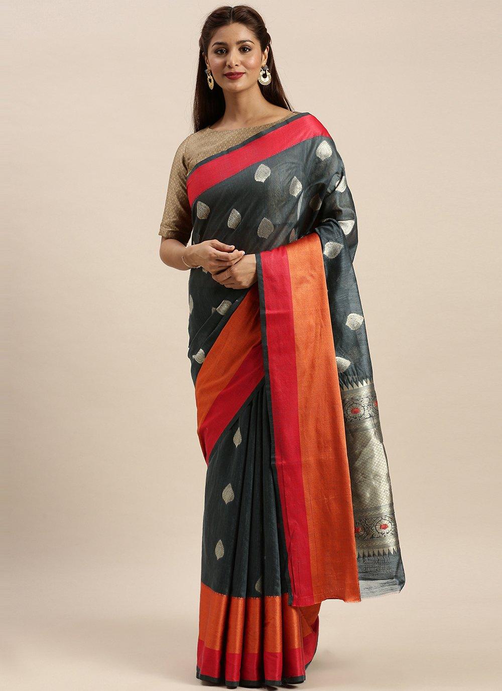 Grey Traditional Designer Saree