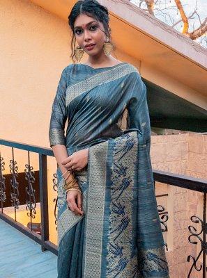 Grey Tussar Silk Ceremonial Designer Traditional Saree