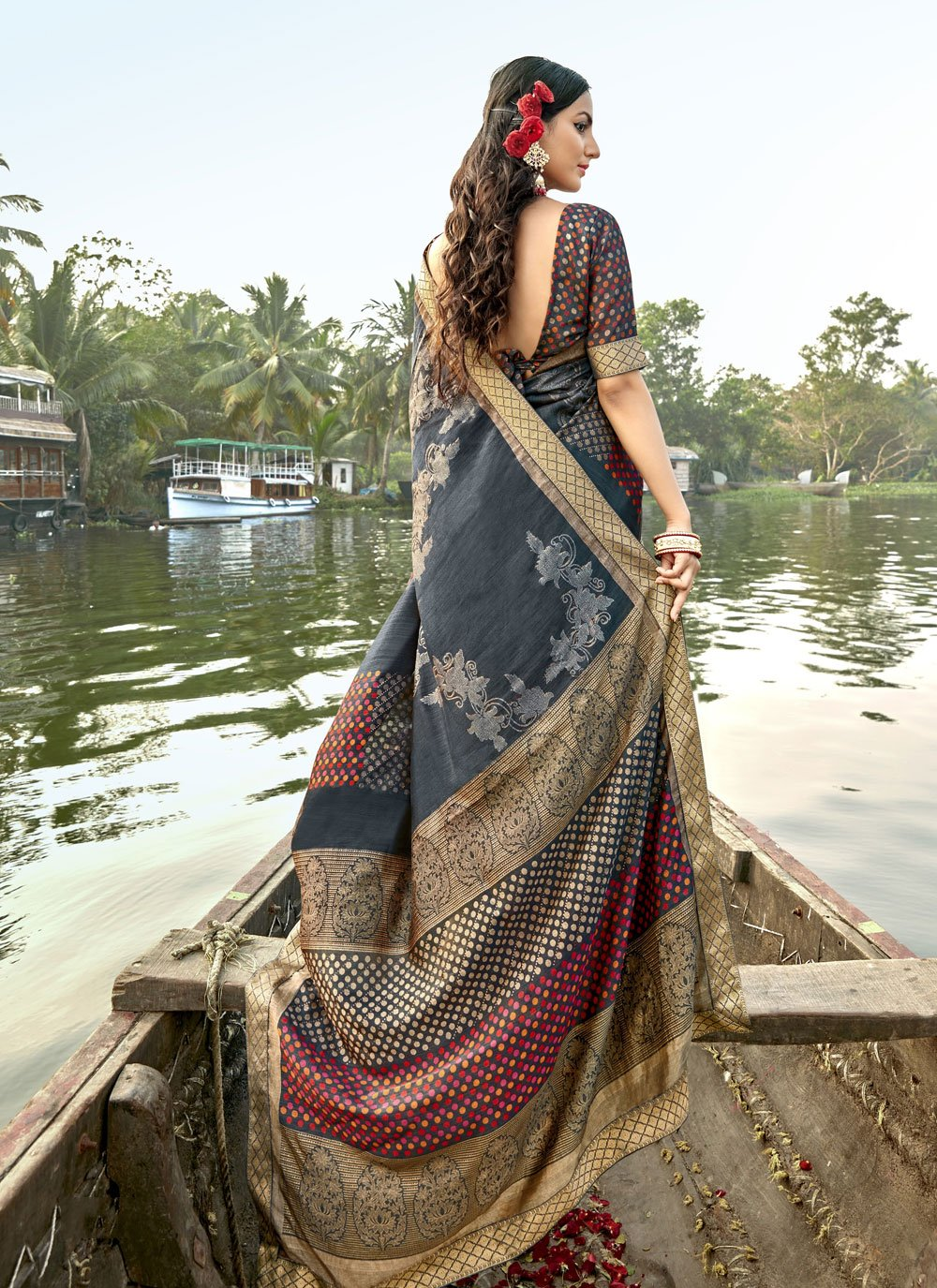 Grey Vichitra Silk Traditional Saree