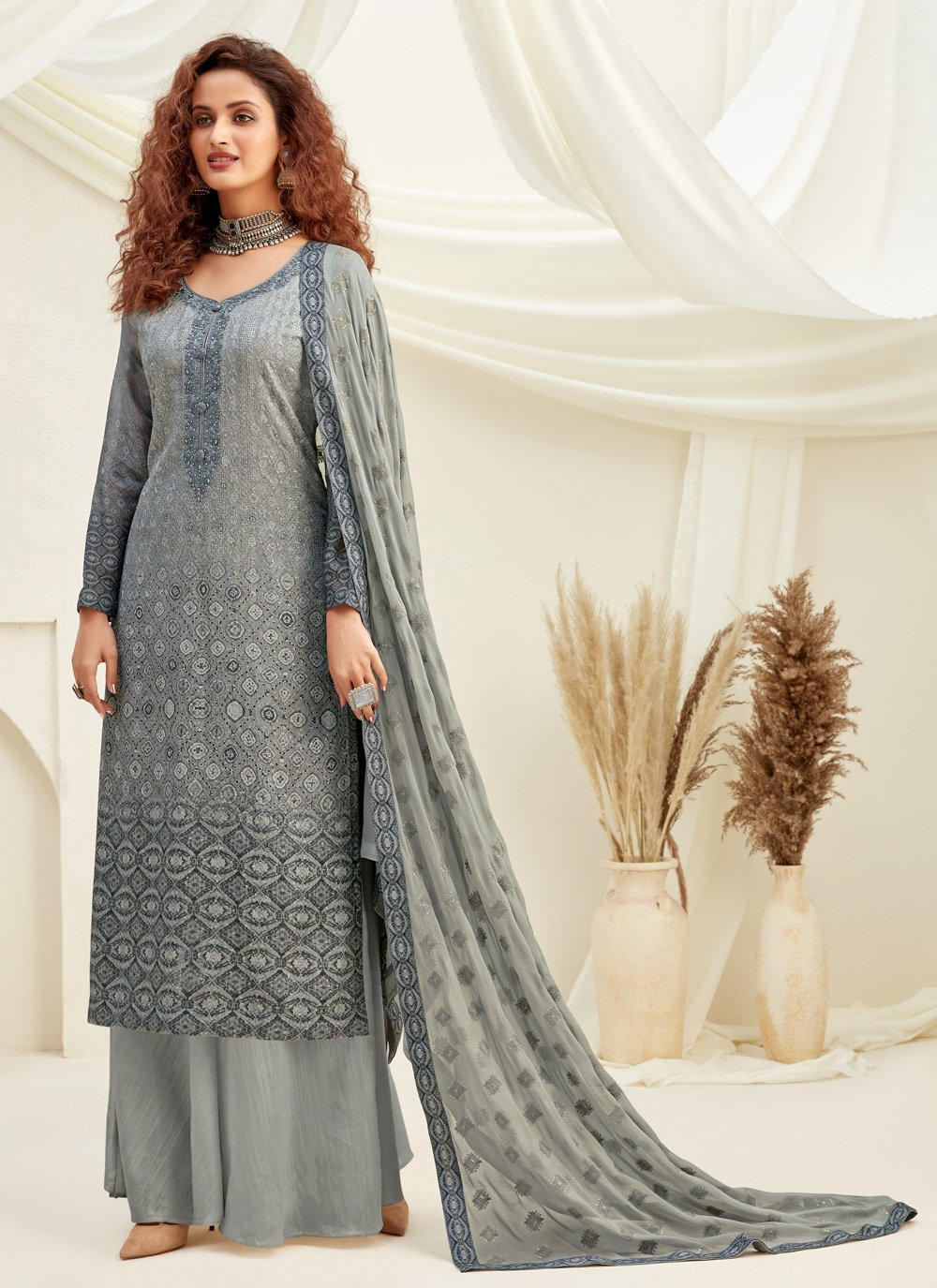 Grey Viscose Designer Palazzo Suit