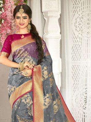 Grey Weaving Art Silk Traditional Saree