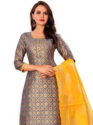 Grey Weaving Banarasi Silk Churidar Designer Suit