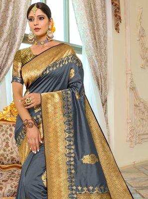 Grey Weaving Banarasi Silk Designer Traditional Saree