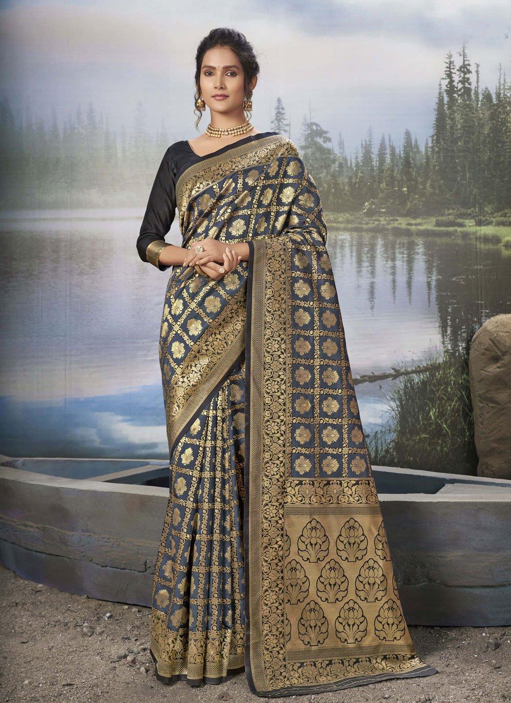 Grey Weaving Ceremonial Traditional Designer Saree