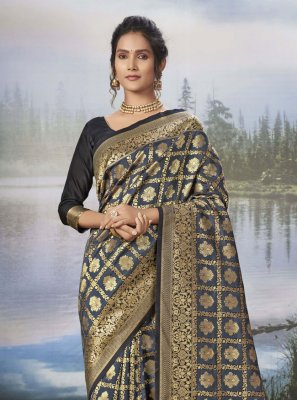 Grey Weaving Ceremonial Traditional Designer Saree