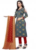 Grey Weaving Churidar Salwar Suit