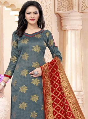 Grey Weaving Churidar Salwar Suit