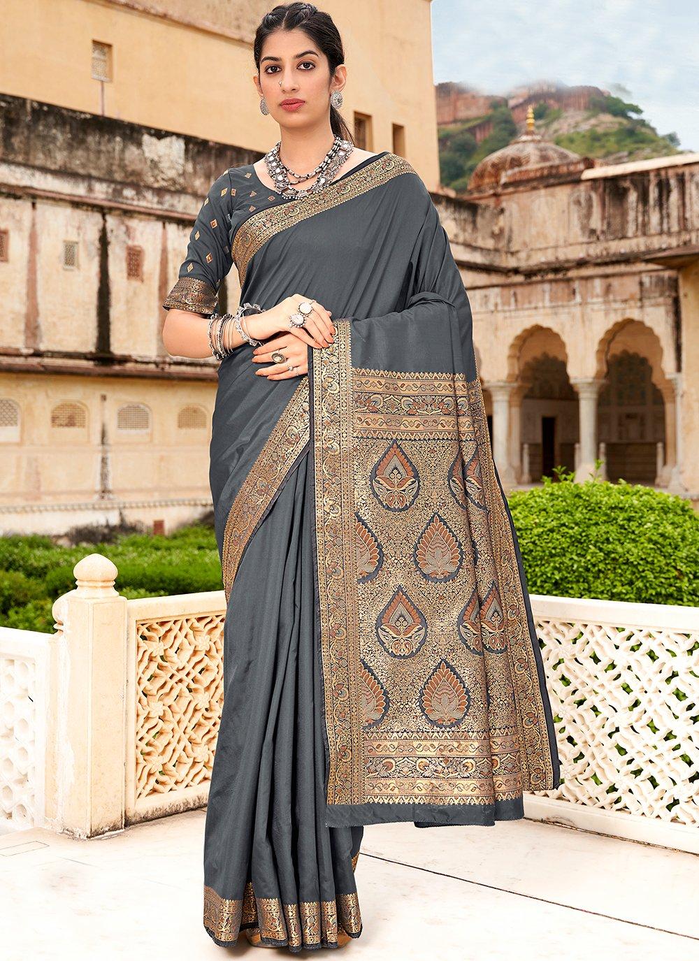 Grey Weaving Classic Saree