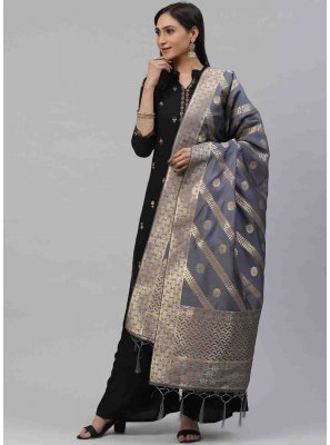Grey Weaving Festival Designer Dupatta