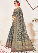Grey Woven Ceremonial Traditional Designer Saree