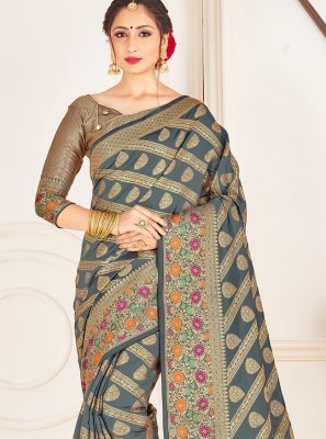 Grey Woven Ceremonial Traditional Designer Saree