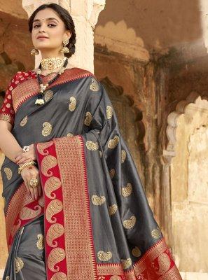 Grey Woven Designer Saree