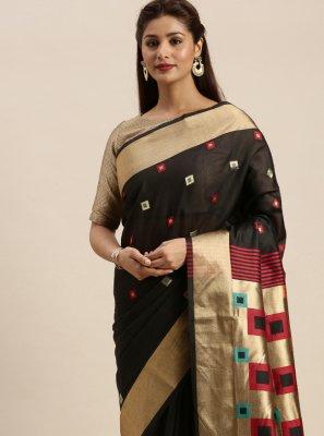 Handloom Cotton Black Designer Traditional Saree