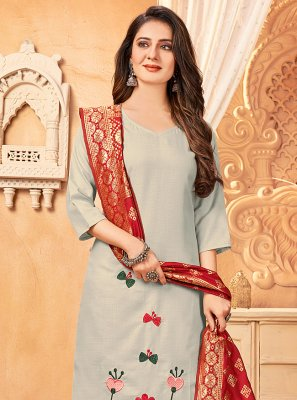 Handloom Cotton Embroidered Grey Pant Style Suit
