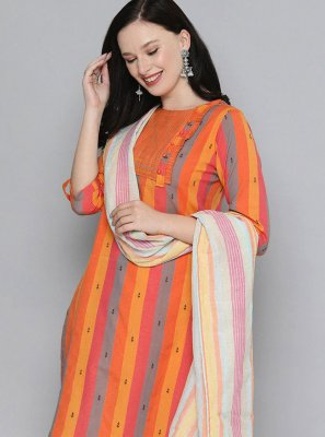 Handloom Cotton Embroidered Multi Colour Pant Style Suit