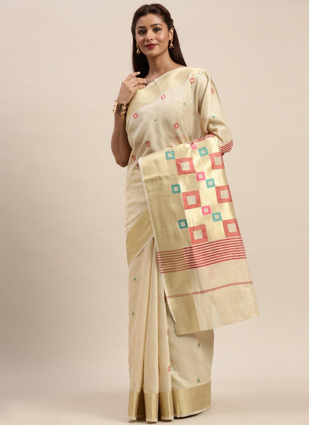 Handloom Cotton Off White Woven Traditional Designer Saree