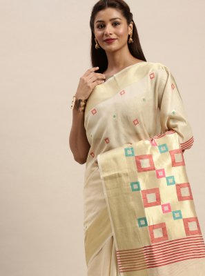 Handloom Cotton Off White Woven Traditional Designer Saree