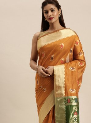 Handloom Cotton Orange Traditional Designer Saree