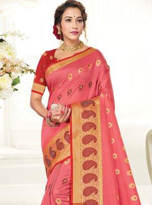 Handloom Cotton Pink Woven Traditional Saree