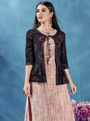 Handloom Cotton Rust Printed Jacket Style