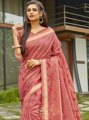 Handloom Cotton Weaving Fuchsia Traditional Saree