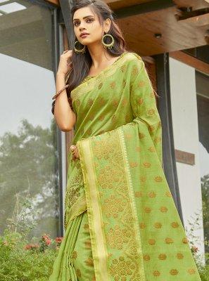 Handloom Cotton Weaving Green Traditional Saree
