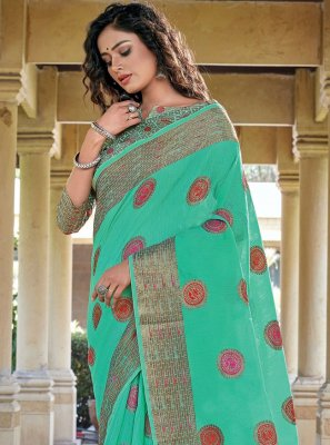 Handloom Cotton Woven Traditional Saree in Sea Green