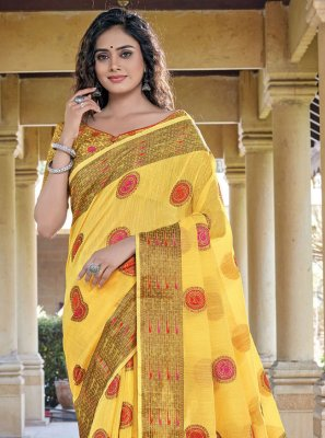 Handloom Cotton Yellow Classic Saree