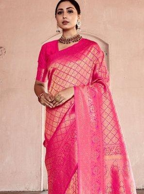 Handloom silk Pink Designer Traditional Saree