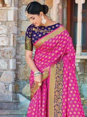 Handloom silk Weaving Hot Pink Designer Traditional Saree