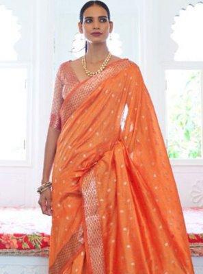 Handloom silk Weaving Orange Traditional Saree