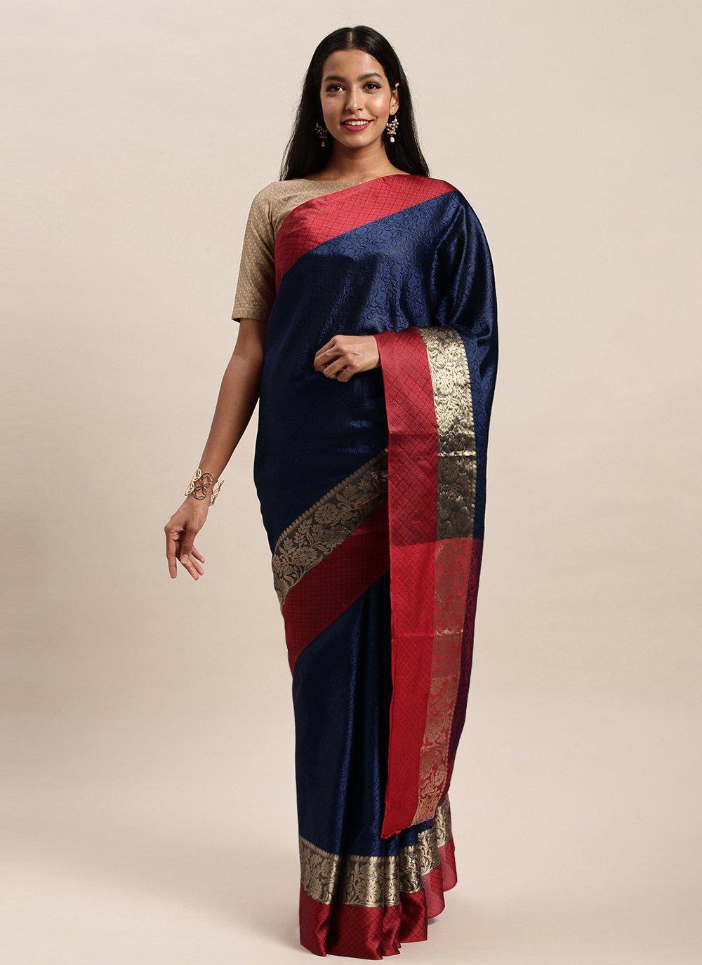 Handloom silk Woven Navy Blue Traditional Designer Saree