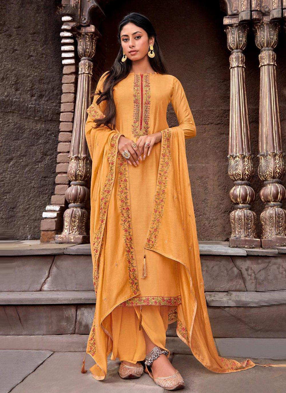 Handwork Cotton Silk Designer Palazzo Salwar Suit