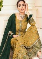Handwork Faux Georgette Yellow Designer Palazzo Salwar Suit