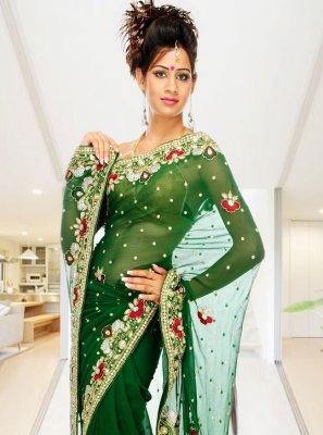 Handwork Georgette Green Classic Designer Saree